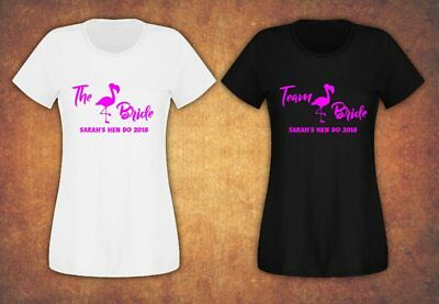 Hen Do Party Bride Tribe 2019 Personalised T-shirt Ladies Female Flamingo Pink