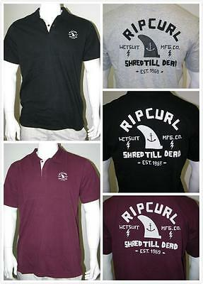 New Rip Curl Mens Beach Polo Shirt Tee #14 -Black, Burgundy, Grey - Size S or M