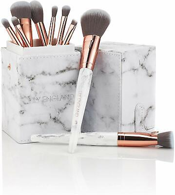 Lily England Marble Luxe Makeup Brush Set with Brush Holder | Marble & Rose Gold