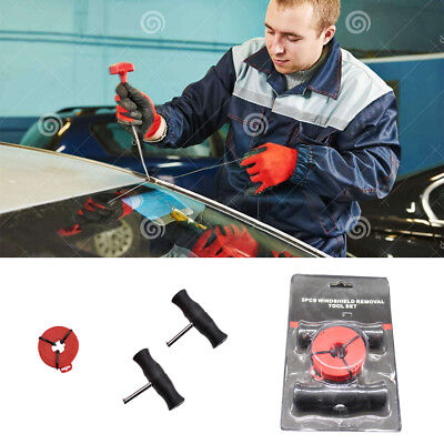 Car Windshield Removal Tool Windscreen Window Glass Cutting Wire + Handles Kit