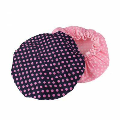 HiCollie Womens Cute Polka Dot Printed Double Layer Waterproof Shower Cap - Set