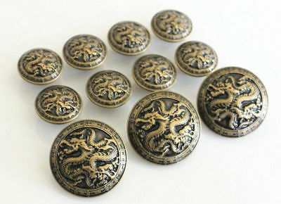 5Pcs Bronze Metal Blazer Chinese Dragon For Blazer Suits SpSport Coat Buttons