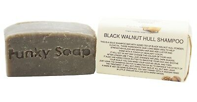 1 piece Walnut Hull Shampoo Bar, black/dark Hair, 65g, 100% Natural Handmade