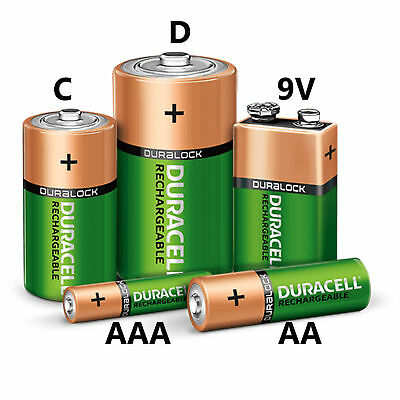 Duracell AA AAA C D 9V Rechargeable Batteries NI-MH Stay Charged Battery