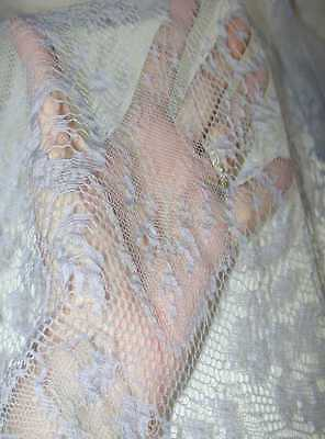 """Antique/Vintage Periwinkle Blue Silk Edging (For Tiered Gowns) Lace 14"""" x 12 Yds"""