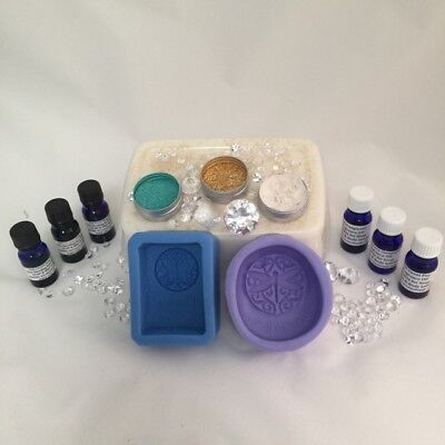 SOAP MAKING KIT 1kg Oatmeal shea soap,dragonfly&butterfly moulds,dyes,frag,shim
