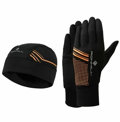 Ronhill Running Jogging Walking  Beanie Hat & Gloves set Black/FluoOrange