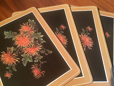 "Pimpernel 4 large Coasters in Box - flowers spider chrysanthemum 8734 - 12""x9"""