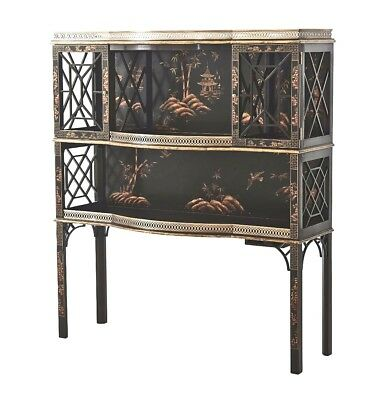 Extraordinary New Brown Chinoiserie Paint Decorated China Liquor Cabinet Bar