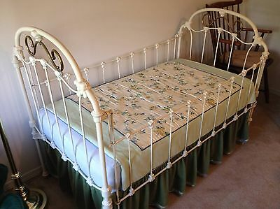 Antique Victorian Child's Iron And Brass Crib