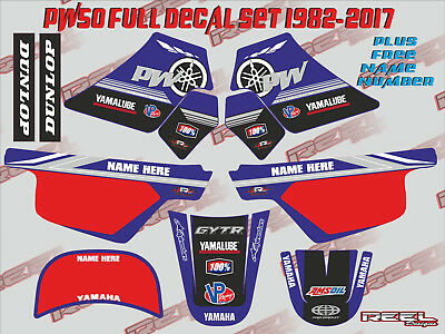 pw50 graphics yamaha pw 50 peewee laminated stickers decals FREE NAME & NUMBER !