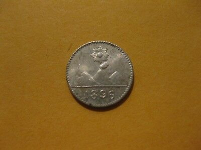 Guatemala 1/4 Real 1895 silver  nice coin  silver quarter real  AU condition