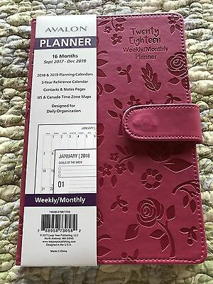 16 Month Daily/Weekly/Monthly Calendar Planner Sept 2017-Dec 2018 Pink AVALON