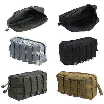 Outdoor 1000D Tactical MOLLE Dual Zipper Pouch EDC Utility Tool Bag Waterproof