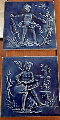 Vintage Neatco Angel Cherub blue glazed tile arts and crafts Antique