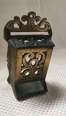 Antique Ornate Cast Iron Wall Mount MATCH HOLDER Fireplace With Original Lid!!!