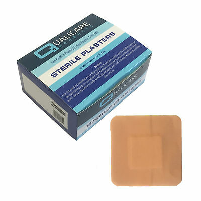 Qualicare Sterile Hypo-Allergenic Washproof Square 3.8cmx3.8cm Plasters 100 Pack
