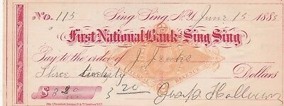 Antique Check First National Bank, Sing Sing, Ny 1883  With Revenue