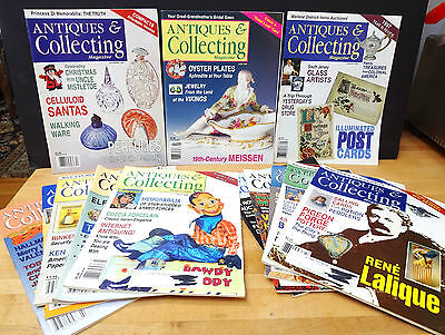 Lot of 13 ANTIQUES & COLLECTING Magazines 1997, 1998 & 1999