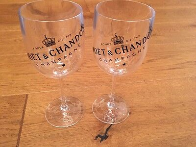 Moet & Chandon Champagne Clear  Goblets Glasses Set Of Two LIMITED EDITION New