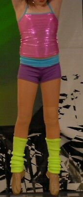 JAZZ 3 Pc outfit  Pink Top Lt Blue purple shorts lime green leg warmer. adult sm