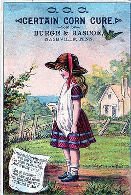 Antique Victorian Trade Card C.C.C. Cough Medicine Ad Evansville IN 190? Girl
