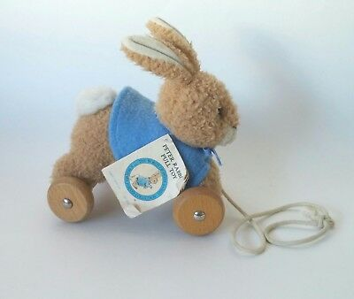 "Beatrix Potter Eden Plush Vintage Peter Rabbit Pull Toy on wooden wheels 7"" 1996"