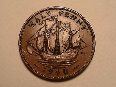 """1940 Nice Half Penny """"ship Themed"""" Great Britain Copper Low Mintage 32,162,000!!"""