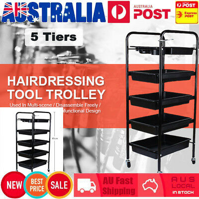 5 Tier Spa Hairdresser Hair Station Salon Trolley Rolling Barber Storage Cart AU