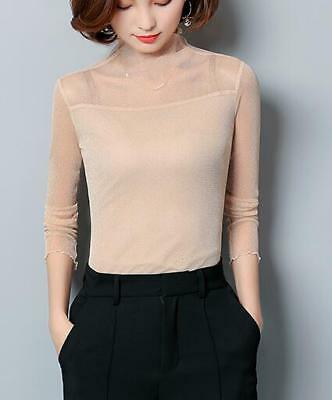 Sexy Women's Slim T-Shirt Sequin Long Sleeve Turtleneck Casual Top Thin Blouse