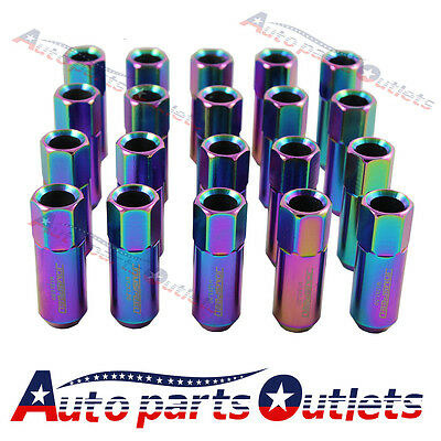 Neo Chorm Aluminum Extended Tuner Lug Nuts 20Pc Jdmspeed 60Mm For Wheel M12X1.5
