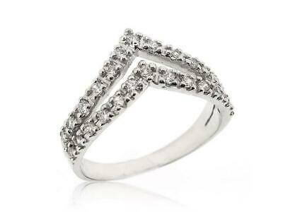 Sovats CZ Stackable New Double V Shape Chevron Thumb 925 Silver Ring Size 5-12