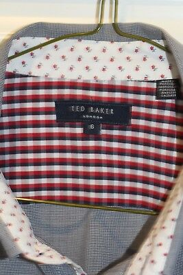 Ted Baker unisex l/s shirt, Cotton, small check, size small
