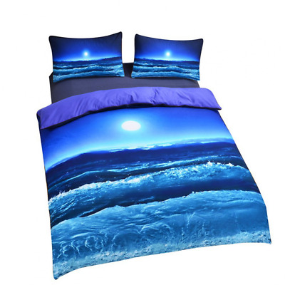Sleepwish Moon And Ocean Bedding Cool 3D Print Home Textiles Soft Blue Bed Sprea