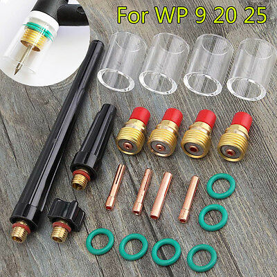 21x TIG Welding Torch Gas Lens #10 Glass Pyrex Cup Collet For WP-9/20/25 Series