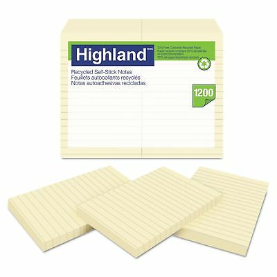 Highland 6609RP Recycled Self Stick Notes  4 x 6  Yellow  100 SheetsPad  12