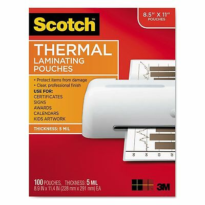 """Scotch TP5854100 Letter Size Thermal Laminating Pouches  5 mil  8 12"""" x 11"""""""
