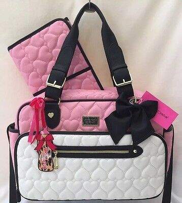 Betsey Johnson Baby Diaper Bag Tote Pink Be Mine Weekender Travel Carry On