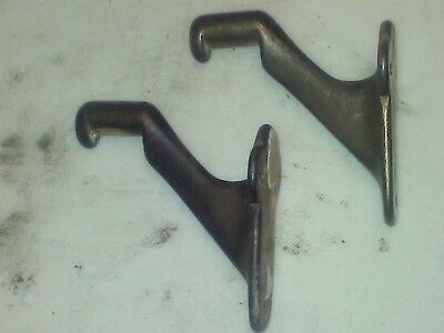 Vintage pair of railing hand rail brackets cast iron for stairs