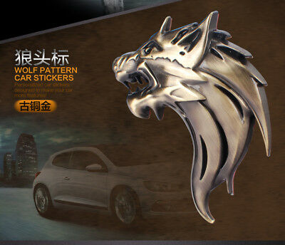 2 Pcs 3D WOLF HEAD Logo 3D Metal Auto Car Emblem Badge Bonnet Sticker Decal
