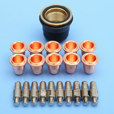 21pcs PD0116-08 PR0110 S45 Plasma Electrode Torch Cutter Tip + Cap For Trafimet