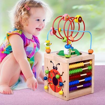 6 in 1 Wooden Bead Maze Activity Cube Multipurpose Center Educational Toys D6N1