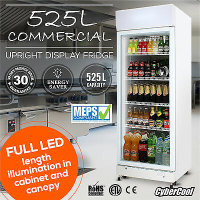 Single Door 525L Commercial Upright Glass Display Beer Drinks Fridge