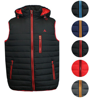 Galaxy By Harvic Mens Lightweight Puffer Vest - Detachable Hood & Contrast Trim