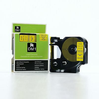 1x 2x 3x 5x D1 tape cartridge 45018 Black on Yellow 12mm for Dymo label manager