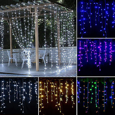 Icicle Hanging Curtain Fairy Wall String Light Christmas Wedding Party LED Lamp