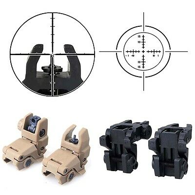 New 2* Tactical Folding Front & Rear Set Flip Up Backup Sights  Black Iron Resin