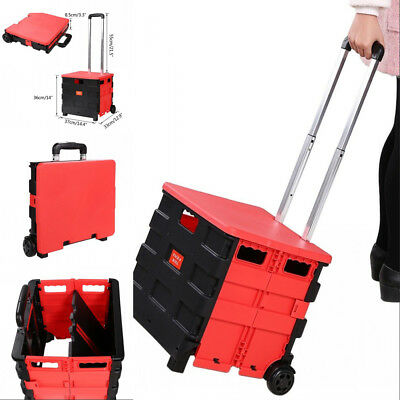 Folding Two-Wheeled Hand Utility Cart Handcart Luggage Cart Hand Truck with Lid