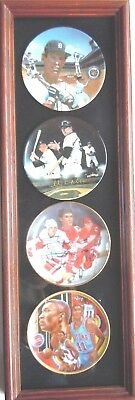 Detroit Home Town Hero's 4 Autographed Sports Impressions Plates Framed