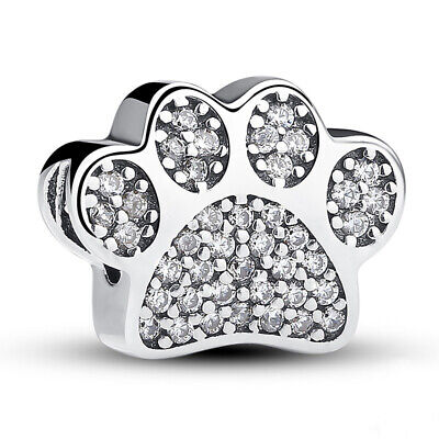 Sterling Silver 925 Love My Pet Dog Paw Cat Pave Print Charm Animal 791714CZ NEW